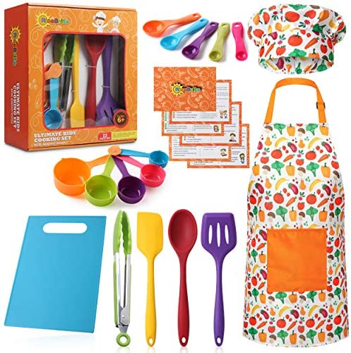 RISEBRITE Real Kids Cooking Set for Girls and Boys 22 Pcs Gift Set Includes Kids Apron Chef product image