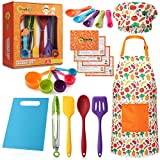 RISEBRITE Real Kids Cooking Set for Girls and Boys – 22 Pcs Gift Set Includes Kids Apron, Chef Hat, Cooking Supplies, Kitchen Utensils and Recipes for The Curious Young Junior Chef