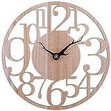 Searchyou - 40cm Relojes de Pared de Numerales - Diseño Hueco Creativo Silencioso para Decoración Salón Dormitorio - (Color de Madera)