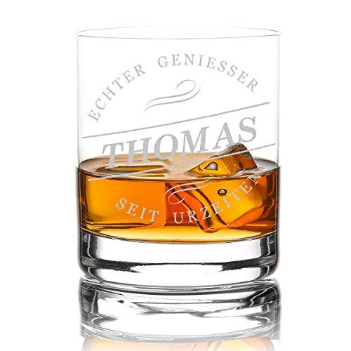 polar-effekt Whiskyglas Personalisiert 320 ml Trink-Glas für Whiskey, Rum und Scotch - Geschenk-Idee für Männer - Motiv-Gravur Geniesser seit Urzeiten