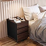 Bestier Desk Drawer Storage Cabinet with Casters Under Desk Cabinet Storage Office Drawers, Home Furniture Drawer Cabinet Organizer Night Stand Table for Study Room and Bedroom P2 Wood (Brown)