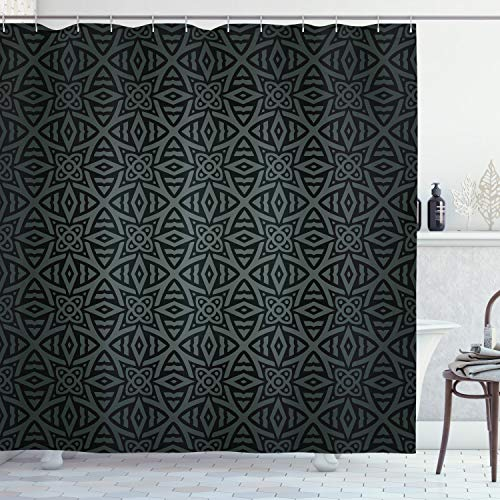 Ambesonne Dark Grey Shower Curtain, Medieval Folkloric Ornament Celtic Pattern Vintage Style Abstract Floral Circles, Cloth Fabric Bathroom Decor Set with Hooks, 70' Long, Green Charcoal