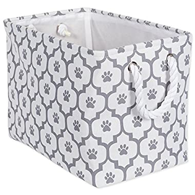 Bone Dry DII Medium Rectangle Pet Toy and Accessory Storage Bin, 16x10x12, Collapsible Organizer Storage Basket for Home Décor, Pet Toy, Blankets, Leashes and Food-Gray Lattice Paw Print