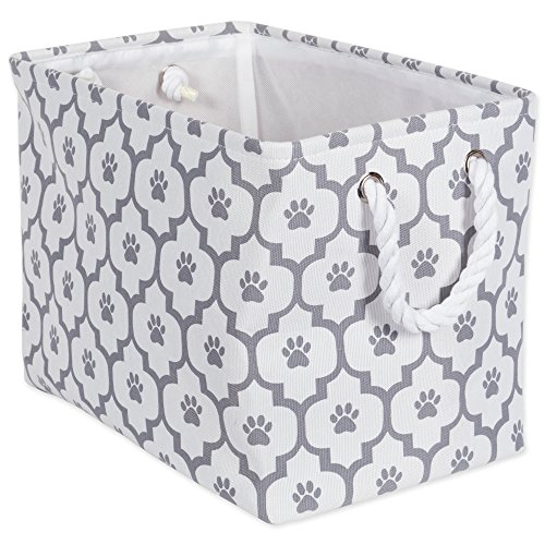 Bone Dry Paw Print Collapsible Polyester Pet Storage Bin, Rectangle Medium - 16 x 10 x 12