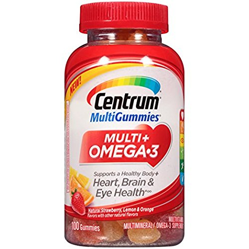 Centrum MultiGummies Multi + Omega-3 Multivitamin, Strawberry, Lemon, Orange, 100 Gummies (Pack of 2)