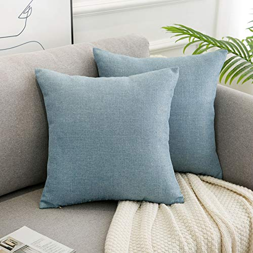 WLNUI Set of 2 Light Blue Pillow Covers 20x20 Inch Square Rustic Linen Decorative Throw Pillow Covers Cushion Case for Sofa Couch Home Farmhouse Decor