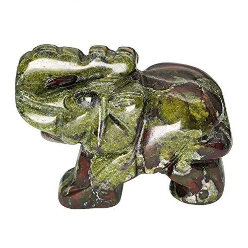 """Fekuar 1.5"""" Hand Carved Healing Crystal Elephant Figurines, Lucky Pocket Stone Animal Statue Sculpture Home Decoration, Dragon Bloodstone"""
