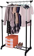 Yaheetech Double Adjustable Garment Rack Coat Clothes Hanging Rail Shoe Stand with Wheels Heavy Duty
