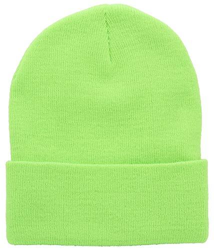 Top Level Beanie Men Women - Unisex Cuffed Plain Skull Knit Hat Cap, Lime