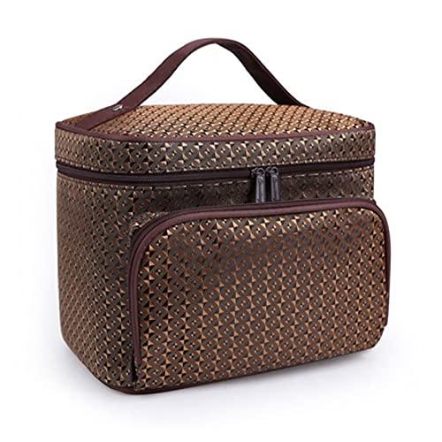 Moda Diamante Lattice Big Cosmetic Bag Ladies Impermeable Profesional Bath Productos Lavado Necesidades de Lavado Agencia de Viajes Cosmética (Color : Gold)