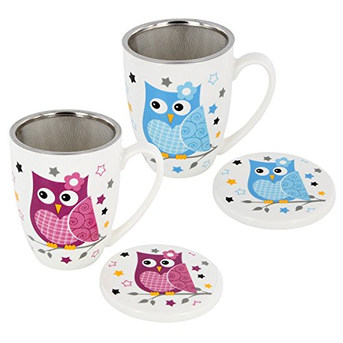 Juego de taza de té-Taza de té con filtro + Tapa Porcelana Diseño Búho 6piezas 11cm)