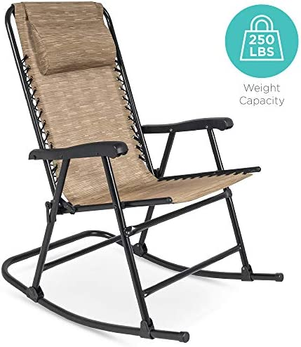 Best Best Choice Products Foldable Zero Gravity Rocking Patio Recliner Chair Beige