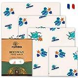 Mathilda Organic 4 Emballages Cire d'abeille – Bee Wrap – Papier Cire Abeille Alimentaire Reutilisable Ecologique, Lavable et Zero Dechet – Bee Wrap Alimentaire Bio Français - Biologique