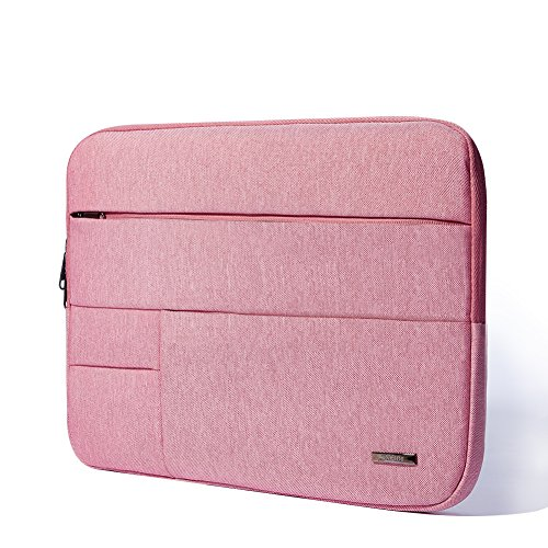 KALIDI Multi-Pockets Laptop Sleeve Bag Case Cover Briefcase with Zipper for 14 Inch Laptop Notebook Computer (Pink)