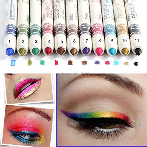 LOVM 12 Pcs PROFESSIONAL Cosmetic Makeup Eyeliner Eye/Lip Liner GLITTER...