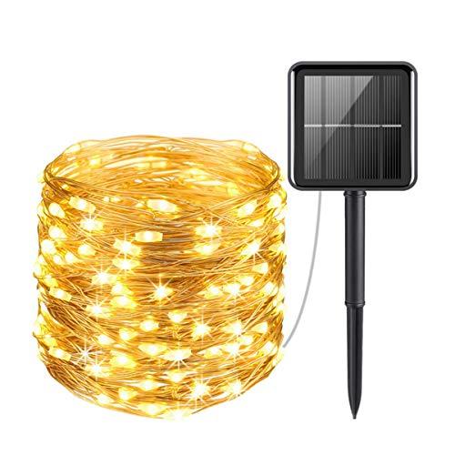 Esenlong Luces solares al aire libre, 200 luces de jardín controladas por luz impermeable de alambre de cobre para el hogar, patio, árbol fiesta, boda