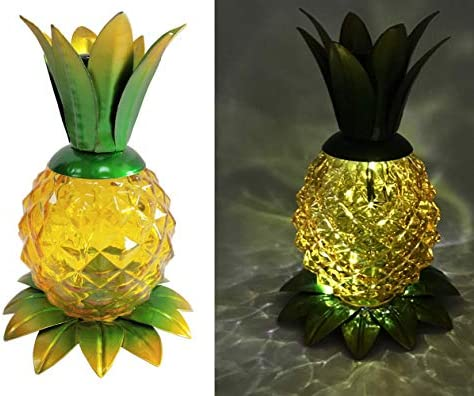 Pineapple Solar Lights Decor Metal Glass Pineapple Ornament Solar Table Lights Outdoor Pineapple product image