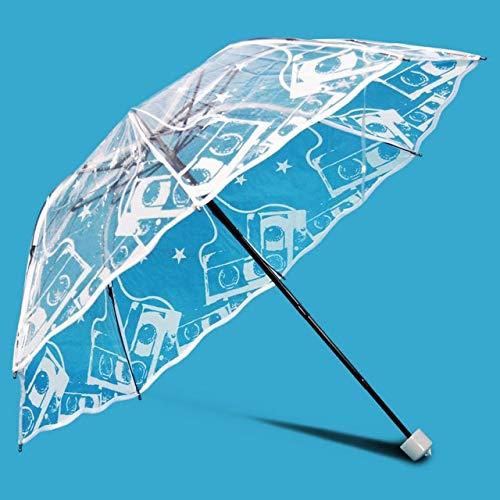 NJSDDB paraplu Bloem Transparant Vouwen Regenachtige Paraplu Voor Vrouwen Draagbaar Potlood Mini Zonnige Winddichte Parasol Wit Kant Bruiloft Paraplu's, 3