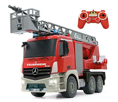 JAMARA 404960 - Feuerwehr Drehleiter 1:20 Mercedes Antos 2,4G - deutsche Sirene mit blauen LED Signallichtern, 420 ml Wasserbehälter, reale Spritzfunktion, programmierbare Funktionen, 4 Radantrieb