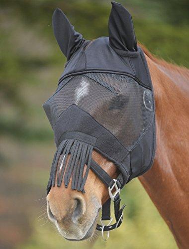 Premium b.richi maschera + protezione orecchie + per il naso con frange trekking. Inserti e velcro colore Nero