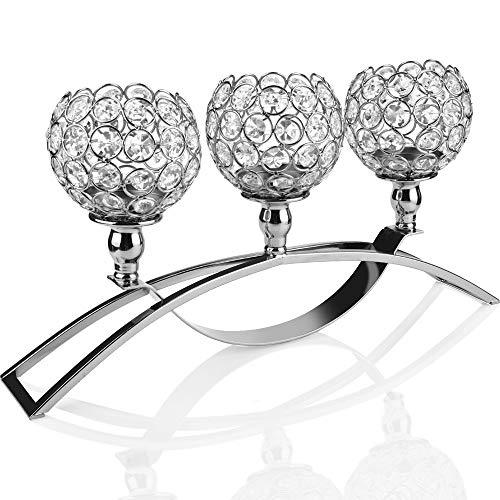 TianranRT Kristall Kerzenhalter Hochzeit/Feiertag/Grundstück Menschen Geschenk Dekoration 17 Zoll(Silber)