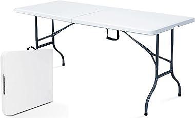 Rekkem Table de Pique Nique Pliante Blanc Rectangulaire 180 x 75 x 74 cm Acier 8 Places Rekkem