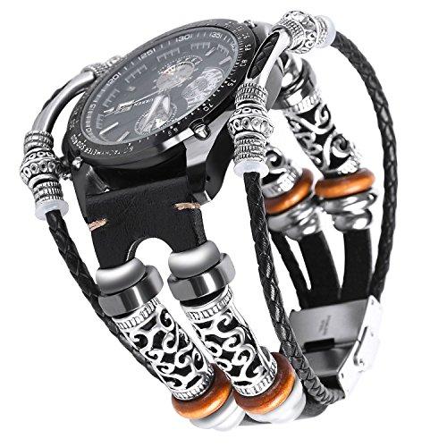 Cinturino Samsung Gear S3, Braccialetto per Samsung Gear S3 Frontier/Polsino classico pelle, Banda regolabili di ricambio Gear S3 Cinturino sportivo per uomo e donna-Nero