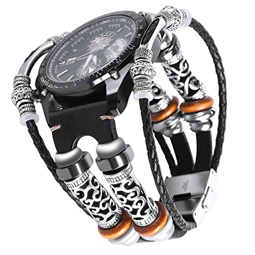 Gear S3 Band Schwarz,Leder Samsung S3 Frontier/Classic armband,Smart Armband Ersatz Uhrenarmband