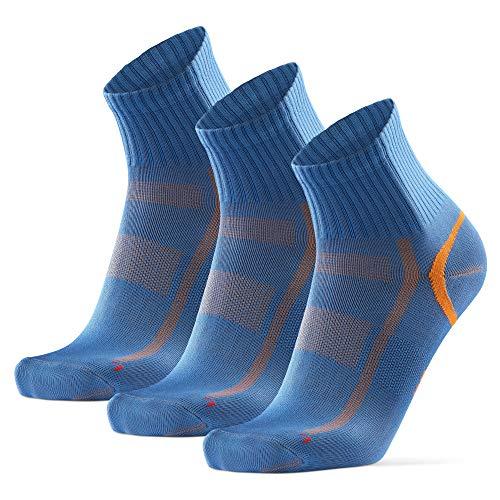 Calcetines Deportivos Quarter Pro 3 Pares (Azul/Naranja, EU 43-47)