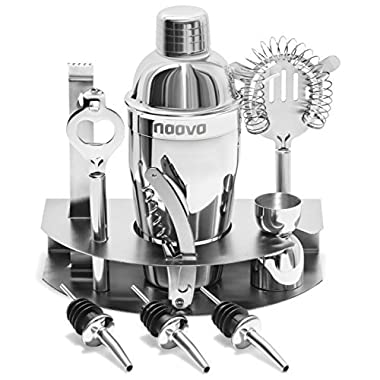 Home Cocktail Bar Set by Naava – Stainless Steel 10 Piece Mixology Tool Kit – With Bartender's Professional Shaker, Strainer, Jigger, Liquor Pourers and More – Attractive Gift Box and 100% Guarantee