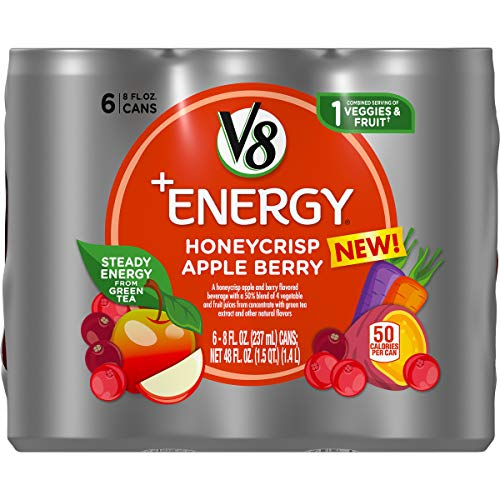 V8 +Energy, Healthy Energy Drink, Natural Energy from Tea, Honeycrisp Apple Berry, 8 Fl Oz, Pack of 24