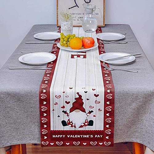 Prevently Table Runners,Creative Valentine's Day Tabletop Swedish Tomte Gnomes Pattern Decorations Non-slip Table Cloth for Kitchen Dinning Table Cover Decoration (33×178)