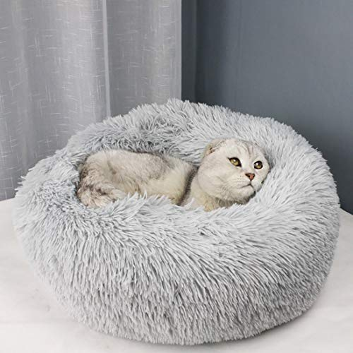 Wuudi Hundebett Schöne Tierbett, 70CM Rundes Haustierbett Katzenbett Hundesofa Plüsch Weich Waschbar für Katzen Hunde Hellgrau