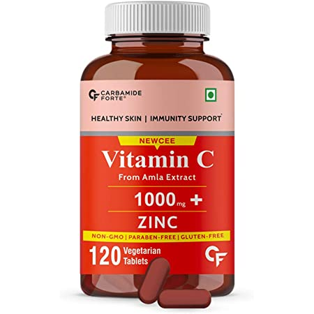 Carbamide Forte Natural Vitamin C Amla Extract With Zinc For Immunity & Skincare - 120 Veg Tablets