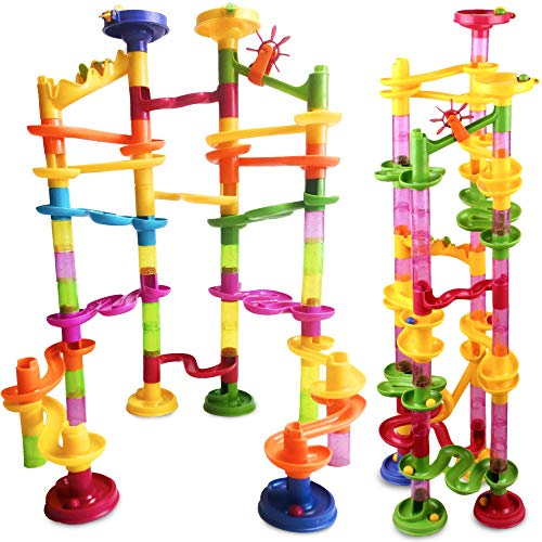 Tevelo Marble Run Coaster 85 Set, 240' Rails Length, 55 Building Elements 30 Plastic Race Marbles. Learning Railway Construction DIY Build Genius Maze Family Game, Endless Fun Design Tower Track
