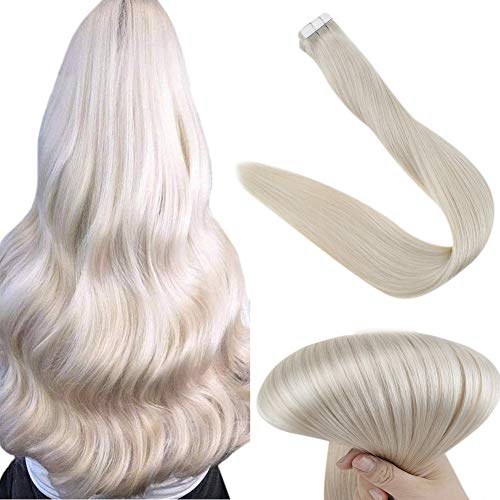 Easyouth 18 Zoll Band auf Echthaarverlängerung für Frauen Solid Color # 1000 Eisblond Doppelte Seiten Brasilianisches Haar
