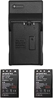 Battery and Charger for ORDRO HDR-AC3 Camcorder, Included 2 NP-120 1700mAh Lithium Batteries, Compatible with ORDRO AC3 / ...