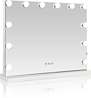 Showtime Lighted Makeup Vanity Mirror, Frameless Light-up Hollywood Tabletops Cosmetic Display with USB Charging Port, Dimmable Bulbs, 3 Color Tone Settings, 23