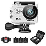 Action Cam, Vemico 4K Action Kamera WiFi Helmkamera Wasserdicht bis 40m 2.0 Zoll Display mit 2.4G...