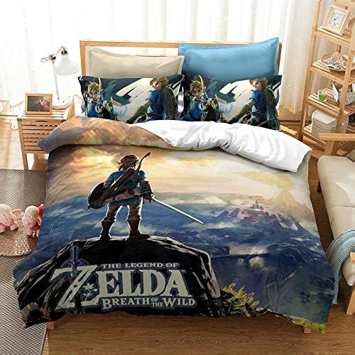 N B The Legend of Zelda Bedding Set Queen 3PCs Game Themed Microfiber Duvet Cover Sets for Kids product image