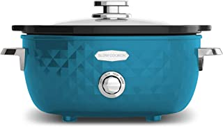 Elite Platinum Maxi-Matic 6 Quart Diamond Pattern Slow Cooker Removable, Dishwasher-Safe Stoneware Pot with Tempered Glass Lid, Cool-Touch Handles, Blue