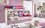Dafne Italian Design Dormitorio completo con puente, efecto abedul, blanco, cuarzo (triple cama individual y armario) (350 x 96 x 259 cm)