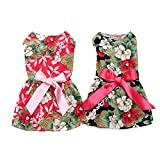 2 Pack of Elegant Ribbon Dog Dress, Fashion Dog Clothes Cotton Dogs Cats Onesie, Puppy Shirts Vest Pet Apparel for Small Dogs and Cats in Wedding Holiday Spring Summer