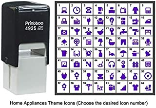Printtoo Personalized Home Appliances Theme Icons Rubber Stamp Self Inking Stamper 24 mm-Violet