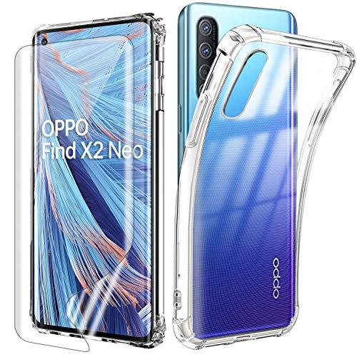 Reshias Handyhülle für Oppo Find X2 NEO 5G Hülle mit 2 Stücke Gehärtetes Glas Schutzfolie Bildschirmschutzfolie, Transparent Silikon Anti-Fall Schutzhülle Phone Hülle Cover 6,7