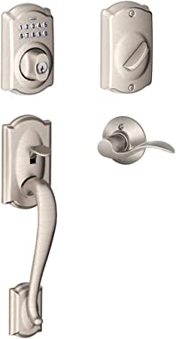 Schlage FE365-CAM-ACC-LH Left Handed Camelot Electronic Handleset with Accent Le, Satin Nickel