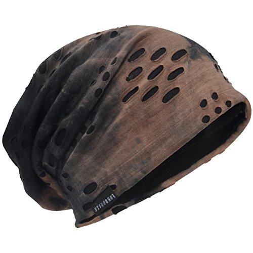 HISSHE Unisex Jersey Slouch Mütze Dünne Sommer Skullcap (9B-Braun)