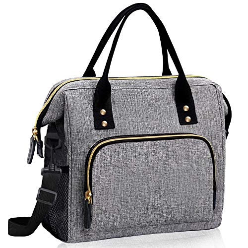 Lunch Bags for Women Insulated, Lunch Cooler Bag for Work, Leak Proof Large Lunch Tote Bag, Lunch Bag with Adjustable Shoulder Strap for School/Office/Picnic/Fishing/Beach