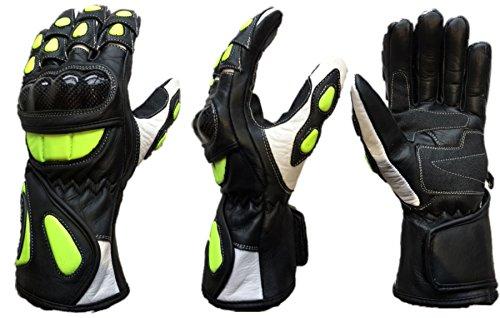 MBSmoto Guantes largos de piel de cobra para motocicleta, color amarillo