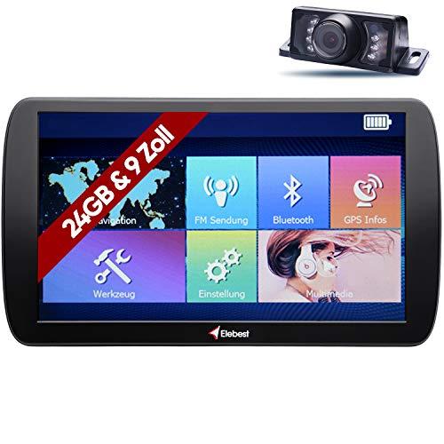 Elebest City 90K Navigationsgerät Navi Navigation 22,8cm 9Zoll Touch Display 24GB Speicher PKW LKW Wohnmobil Auto Bluetooth GPS Europa Karte Maps sowie Radarwarner Blitzer Funk Rückfahrkamera